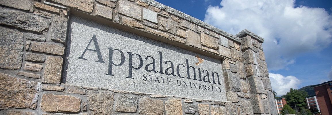 Appalachian State University campus sign